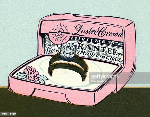 Vintage 1950s illustration of a gold and diamond wedding ring set in a presentation box screen print 1958
