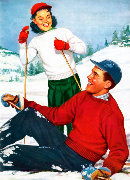 Young Skiers Playing On Slopes