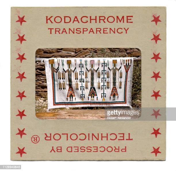 A vintage 1950s Kodachrome transparency in a cardboard mount The photographic slide a Navajo blanket was taken outside the Hopi House at the Grand...