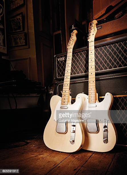 A vintage 1956 Fender Telecaster and 1958 Fender Telecaster electric guitar taken on February 23 2016