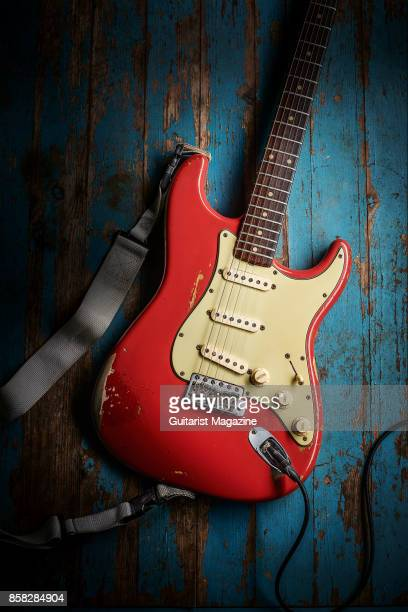 A vintage 1961 Fender Stratocaster electric guitar with a Fiesta Red finish previously owned by Northern Irish musician Gary Moore taken on October 4...