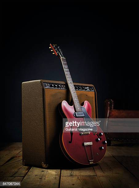 A vintage 1961 Gibson ES330 electric guitar and Fender Concert amplifier taken on November 17 2015