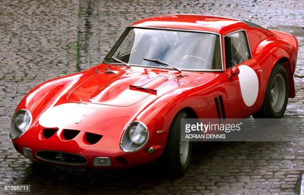 Vintage 1963 Ferrari 250 GTO which won the 1963 Le Mans GT race outside Bonham and Brooks auction house in London, 30 October 2000. One of only 39...