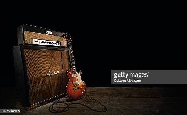 A vintage 1964 Marshall JTM45 MkII amplifier and prototype Jimmy Page Signature Gibson Les Paul electric guitar taken on April 24 2015