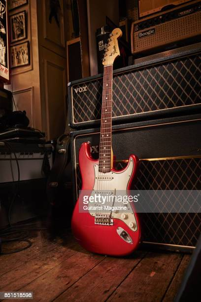 A vintage 1965 Fender Stratocaster with a Candy Apple Red finish electric guitar taken on June 21 2016