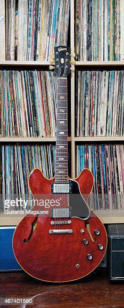 A vintage 1965 Gibson ES335 electric guitar belonging to English rock musician Bernie Marsden on May 22 2014
