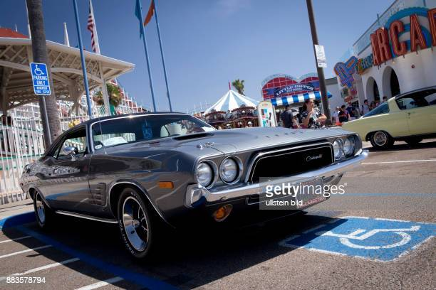 Vintage 1973 Dodge Challenger muscle car at Belmont Parks Fathers Day Car Show in Mission Beach