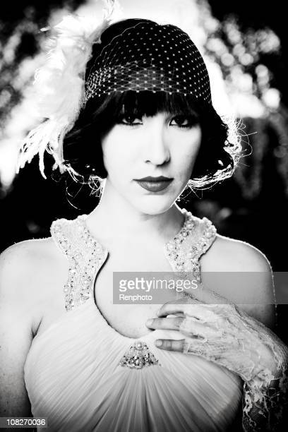 Vintage 20s style black and white portrait