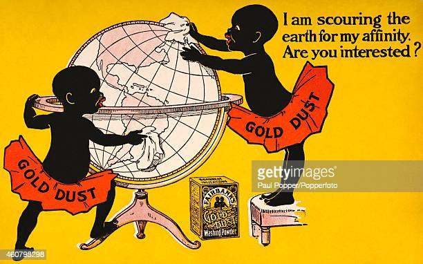 A vintage advert for Gold Dust Washing Powder showing the Gold Dust Twins polishing a globe circa 1920