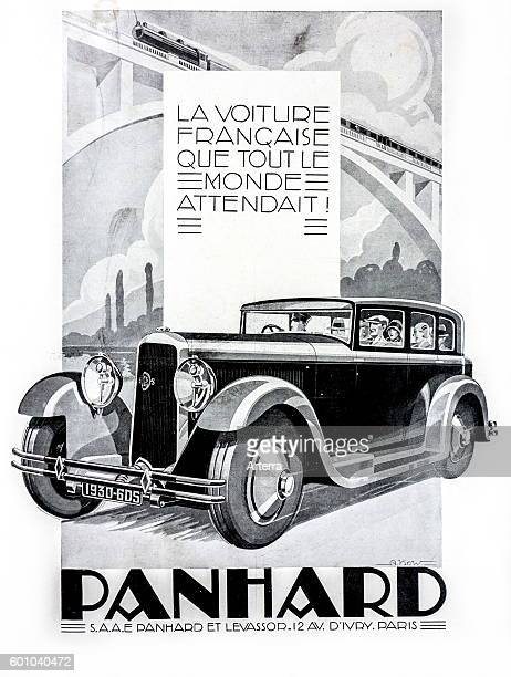 Vintage advert for the French automobile Panhard Levassor 6DS Berline X66 from 1930 France