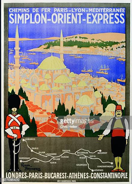 Vintage Advert for the Simplon Orient Express Railway running from London via Paris Bucarest and Athens to Constantinople or Istanbul Advert c1920s