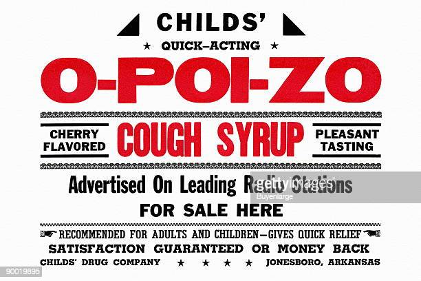 A vintage advertisement for a cherry flavored child's cough medicine with a guarantee This small cardboard sign would be place in pharmacy windows
