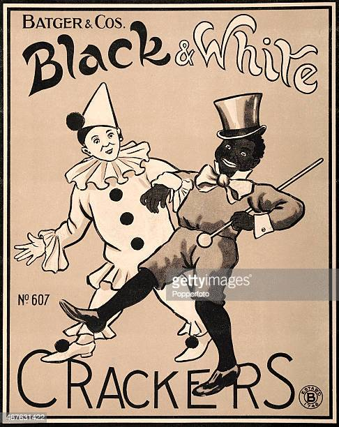 A vintage advertisement for Batgers Black White Crackers featuring a harlequin clown and a black white minstrel show performer circa 1950