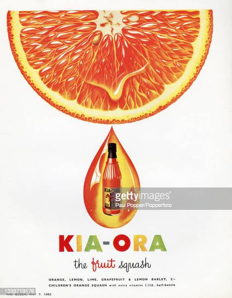 Vintage advertising for Kia-Ora, the fruit squash of many flavours, and featuring the juice of an orange finding its way into a bottle in a drop,...