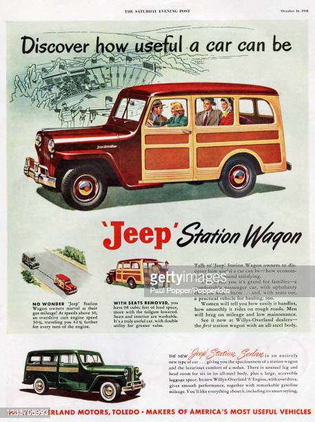 Vintage advertising for the Jeep Station Wagon, manufactured by Willys-Overland Motors of Toledo, Ohio, including several of its most prominent...