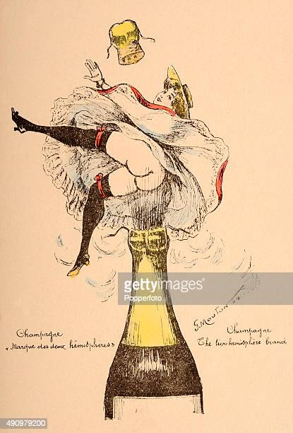A vintage advertising postcard featuring an ilustration of a barebottomed young woman enjoying the opening of a champagne bottle circa 1900