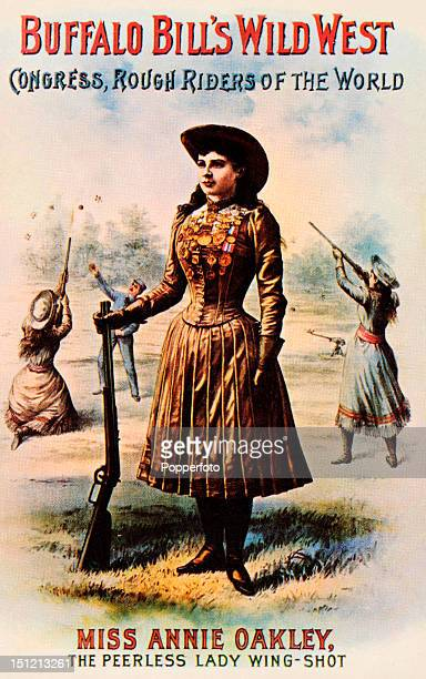 Vintage advertising poster for Buffalo Bill's Wild West show featuring Miss Annie Oakley circa 1900