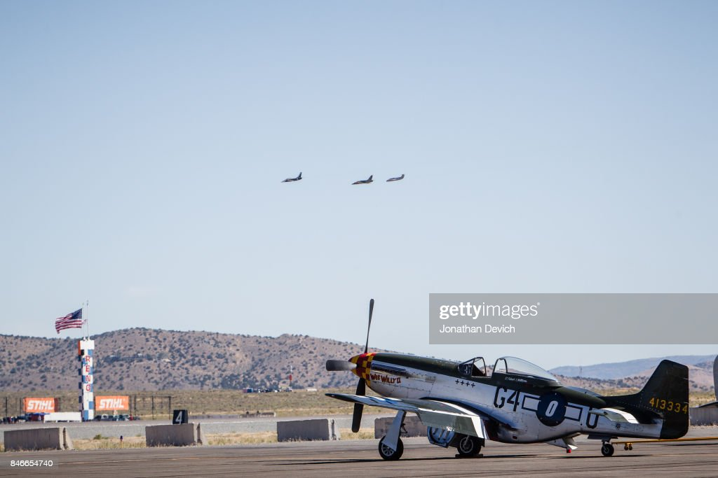 A vintage airplane flying in the unlimited category waits to fly at the Reno Championship Air Races on September 13, 2017 in Reno, Nevada.