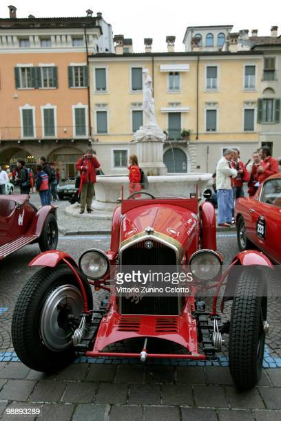 A vintage Alfa Romeo 1750 Gran Sport attends the Mille Miglia 2010 one thousand Mile Historic Race car presentation held at Piazza della Loggia on...