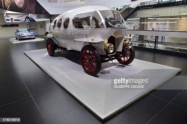 A vintage Alfa Romeo 'Aerodinamica' car is pictured during a presentation of the new Alfa Romeo car in the Alfa Romeo Museum renovated for the...
