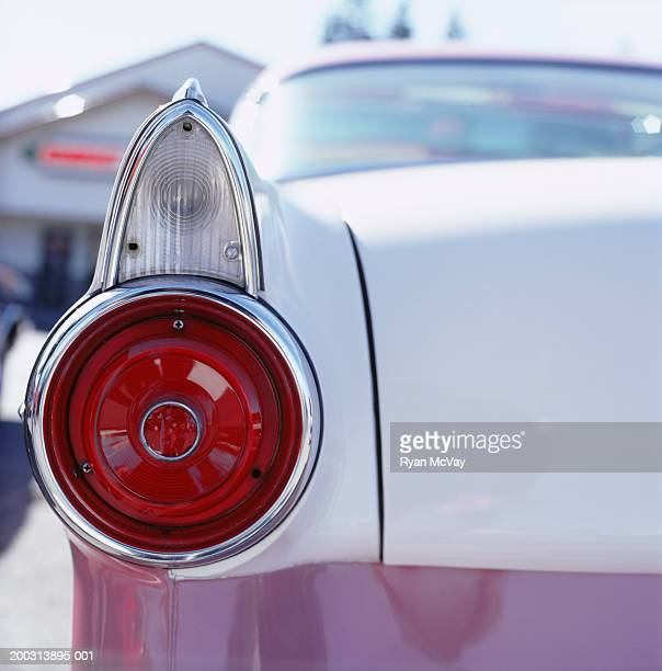 Vintage American car, close-up of rear light and trunk