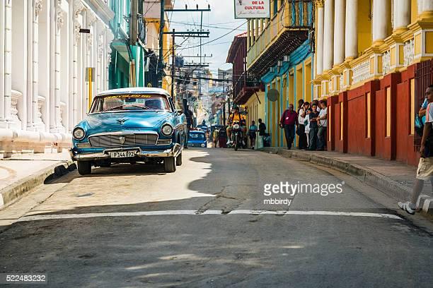 Vintage American car parked in Santiago de Cuba