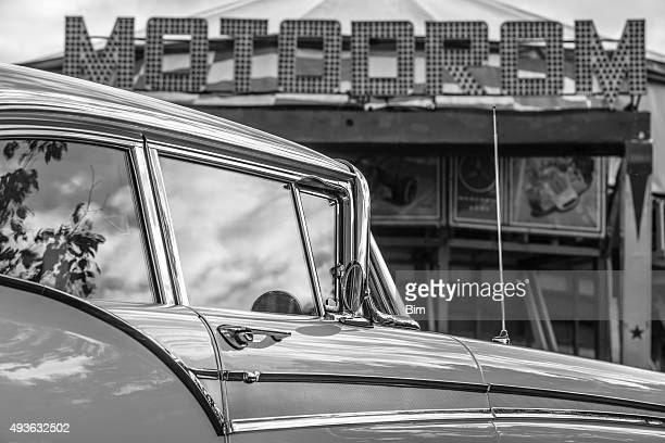 Vintage American Car,1957 Ford Fairlane Black and White