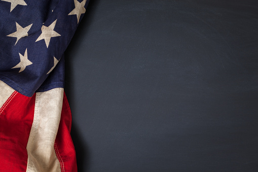 Vintage American Flag on a Chalkboard 948627862