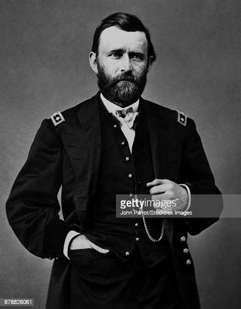 vintage american history photo of general ulysses s. grant, amid his service during the american civil war.  - ulysses s grant stock pictures, royalty-free photos & images