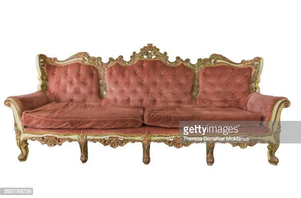 Vintage Antique Louis XV French Rococo Tufted Back Hand Carved Sofa
