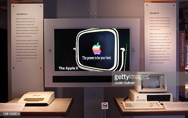 Vintage Apple and IBM computers are displayed at the Computer History Museum on January 19, 2011 in Mountain View, California. After a two year, $19...