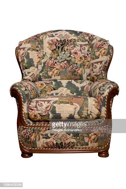 vintage armchair isolated on white background - armchair stock pictures, royalty-free photos & images