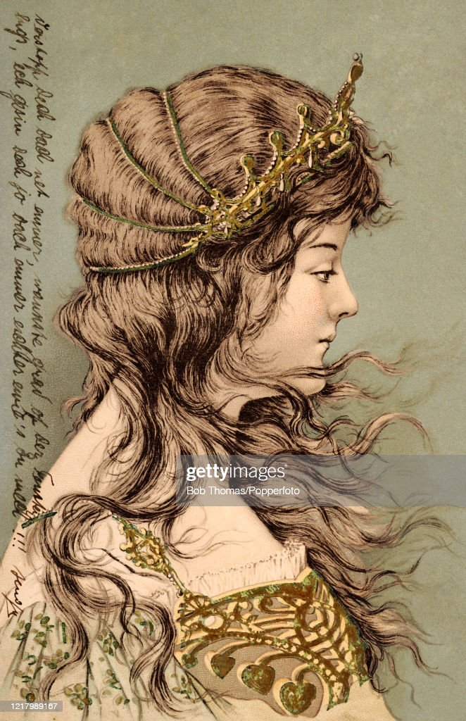 A Vintage Art Nouveau Postcard Illustration Featuring The Profile Of News Photo Getty Images