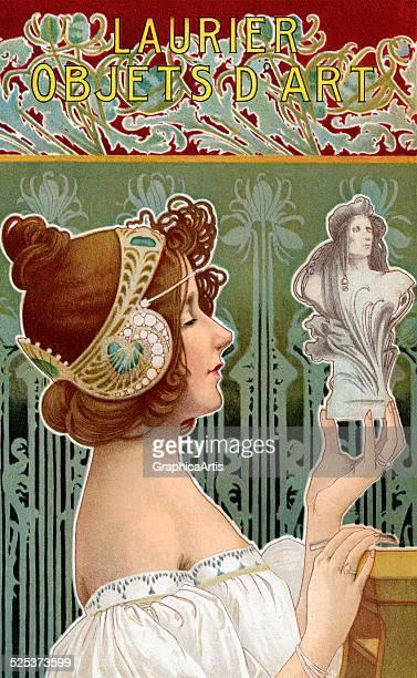 Vintage Art Nouveau poster titled 'Laurier Objets d'Art' lithograph 1902