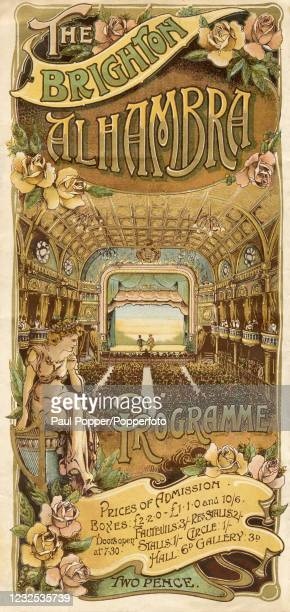 Vintage Art Nouveau programme cover for the Brighton Alhambra Threatre and featuring a view of the large auditorium and stage and a classical statue...