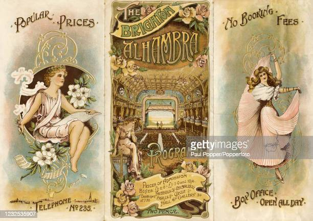 Vintage Art Nouveau programme for the Brighton Alhambra Threatre and featuring a view of the large auditorium and stage and a classical statue...