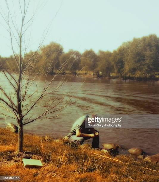 vintage autumn fisherman - 1950 1959 stock pictures, royalty-free photos & images