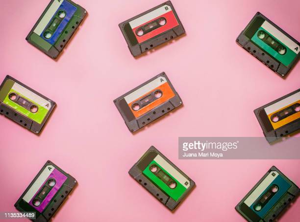 vintage background, with colorful cassette tapes. - 1990~1999年 ストックフォトと画像