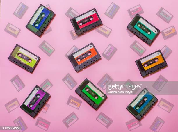 Vintage background, with colorful cassette tapes.