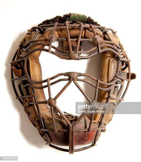 Vintage Baseball Catcher's Mask Early 1920's catcher's mask features unique beaded welds with goggle eyes and classic spitter design