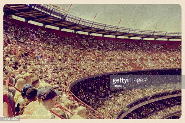 vintage baseball stadium postcard - baseball sport stock pictures, royalty-free photos & images