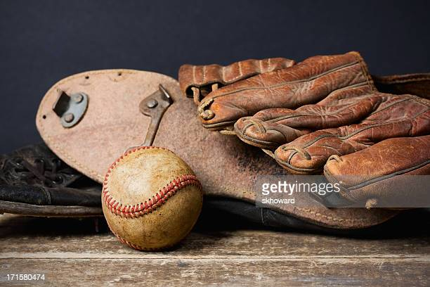 Vintage Baseball with Cleats and Glove