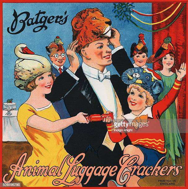 Vintage Batger's Cracker LabelPrinted and designed for the top of boxes containing Christmas CrackersMade in Englandcirca 1930's