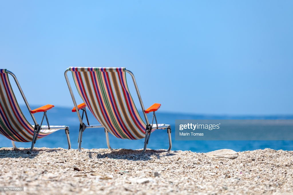 Vintage Beach Chairs High Res Stock Photo Getty Images