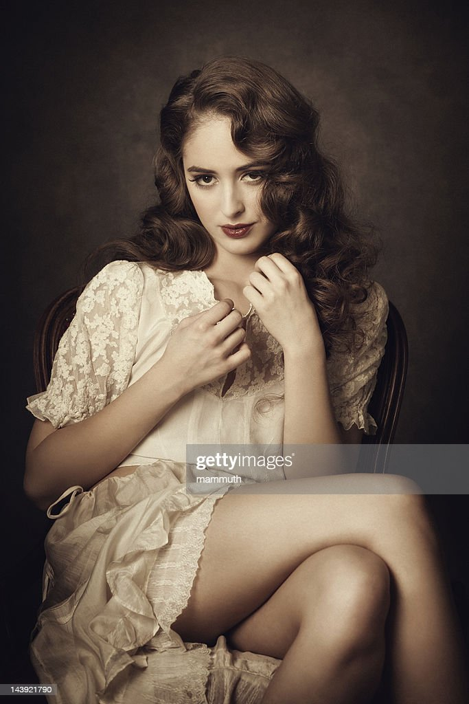 Vintage Beauty Flirting High-Res Stock Photo - Getty Images