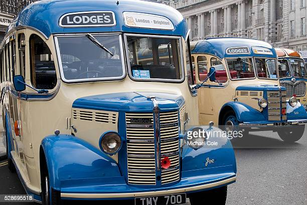 Vintage Bedford single decker coaches on show in Regent Street London