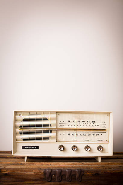 Vintage Beige Radio Sitting on Wood Table, With Copy Space
