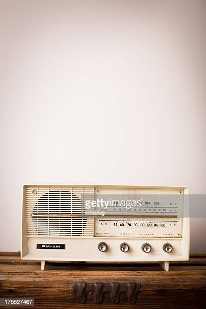 Vintage Beige Radio Sitting on Wood Table, With Copy Space
