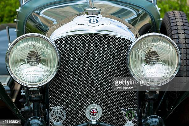 Vintage Bentley four and a half litres luxury car built in 1929 with AA Automobile Association RAC Royal Automobile Club and Bentley Drivers Club...