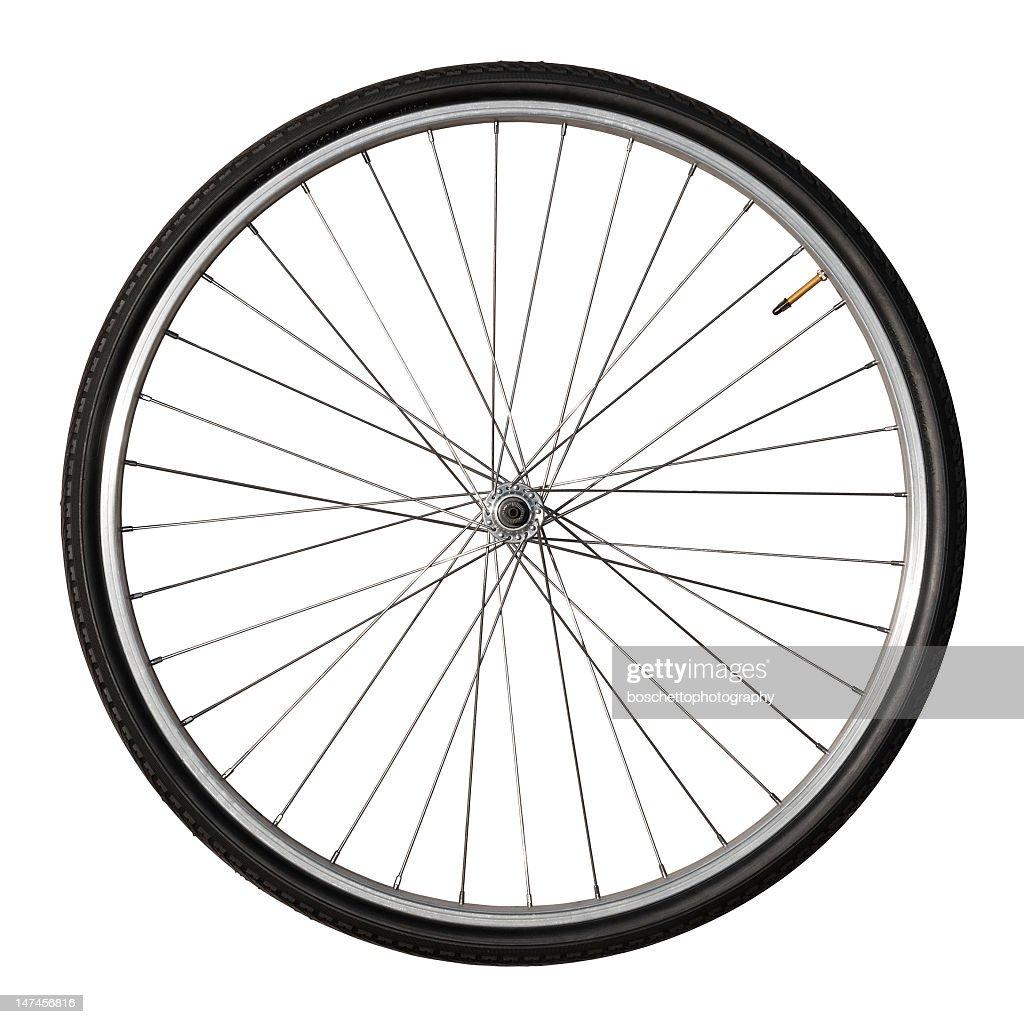 Vintage Bicycle Wheel Isolated On White : Stock Photo